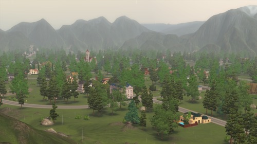 Welcome to Vos!Population: 152 (54 households) So this is it, the town of Vos, which I am currently playing. Vos is a pretty little village, nestled between the Praxium Sea and the Queeg mountain range. With the Queeg Mountains holding 85% of the region's gems and precious metals, Vos began as a simple mining settlement, but over the years its natural beauty attracted the attention of many wealthy families, and the town has since settled into a quiet, sleepy existence. With no functioning sea port, Vos is only accessible from three points through the mountains: The snowy Memnon Pass to the Northeast, the Sherma Passage to the South, and the Nuerospan Corridor to the Southwest. (Because I'm lazy, it's just Moonlight Falls with new houses and families. But hey, at least I did full custom families.) (Also I didn't think about doing this until some time had passed, so it's no longer a from scratch town. I have the original save, so I technically could go back and change that, but… Lazy)