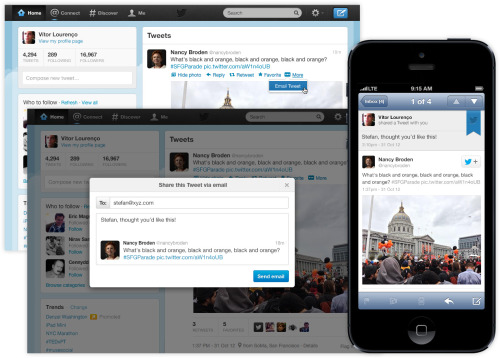 Twitter now allows you to e-mail tweets from the web: Because this makes sense as a feature introduction in 2012, apparently.