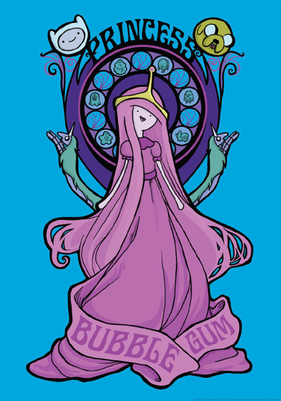 adventuretime:  Princess Prints on Sale Now Guess what. Our T-shirt friends, Mighty Fine, are now selling Adventure Time prints, including this one, Bubblegum Nouveau, designed by the Pride of Swampscott, Karen Hallion. Yeesh, that's pretty cool (not that that Princess Leia on Karen's site is any less smashing). EDIT: Hey, loviette, it is a shirt, too.