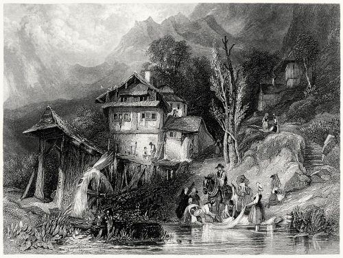 Mill on the lake of Lungern (Switzerland).  From a painting by George Balmer. From The gallery of modern British artists, London, 1834.  (Source: archive.org)