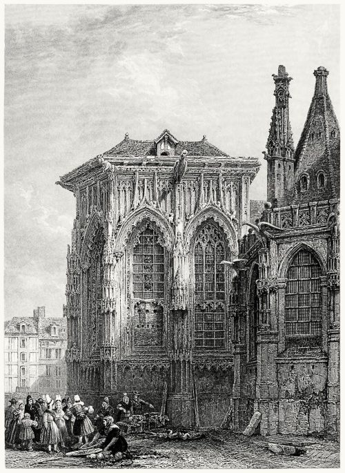 Church of St. Jacques (Dieppe).  D. Roberts, from The gallery of modern British artists, London, 1834.  (Source: archive.org)