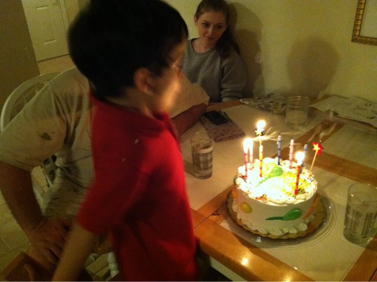 It takes a deep breath to blow out six candles!