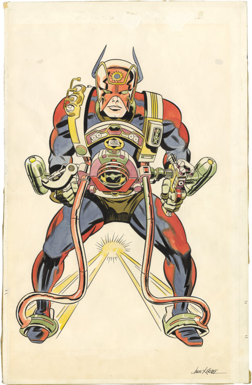 themarvelageofcomics:  Original concept drawing of Orion of the New Gods by Jack Kirby, circa 1966. Kirby did the hand-coloring as well.  Kirby + New Gods = awesome.