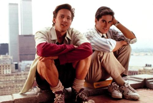 "Weekend At Bernie's (1989) Andrew McCarthy & Jonathan Silverman - Tagline: ""The drop dead comedy of the year!"". http://www.pickoftheflicks.com"