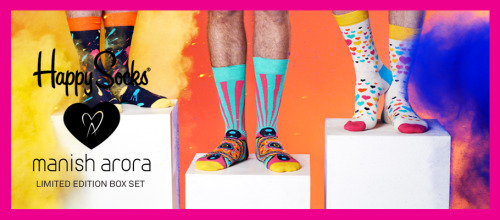 happy socks and indian designer manish arora are celebrating the holidays with an exciting collaboration; inspired by the most colorful festival of all, holi, the brands have launched a 3-pair limited edition happy holi collection offering customers and fans of both/either brand the opportunity to spread happiness during one of the happiest seasons of all. celebrated by hindus throughout the world, the holi festival consists of holding bonfires, throwing colored powder at each other and celebrating wildly. as if happy socks could get any happier—your feet are going to have so much fun with these.