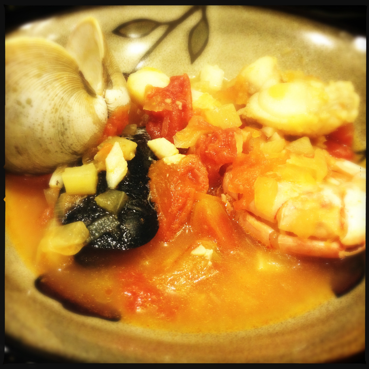 Dinner!  I made Bouillabaisse with shrimp, mussels, monkfish, and cod.   So yummy!