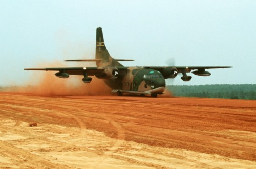 Fairchild Friday: Photo #2, a Fairchild C-123 Provider landing on a rough strip, 1979