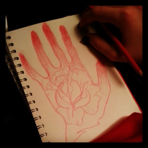 Always #sketching.. #hand #flower #rose
