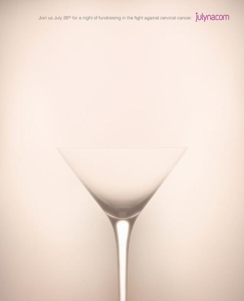 Creativity In Simplicity The most creative ad, shot with simplistic means. It lets your mind visualize it without showing anything at all except a glass.