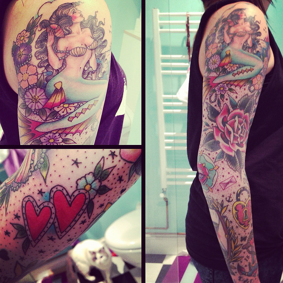 fuckyeahtattoos:  Finally finished my sleeve, a collection of talented artists and a lot of memories. Tracy D, Kings Kross Tattoo Parlour, London | Tutti Serra, Black Garden Tattoo, London | Emiliano, Frith Street Tattoo, London | Kiko Lopes, London
