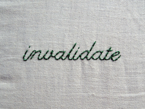 andsewfortoday:  DAY TWO HUNDRED AND SEVENTY FIVEinvalidate verb 1. declare invalid <2 strands on cotton>