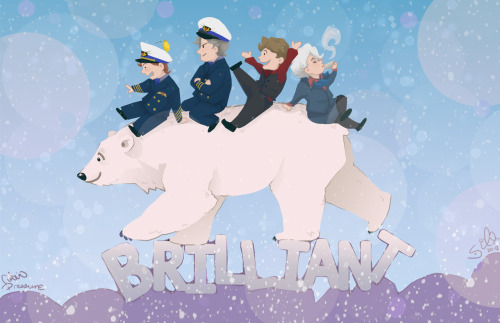 "sempaiko:  ""Bear, Polar"" This is in celebration of the announcement of the return of CABIN PRESSURE IN JANUARY! This is of course from my favorite episode ""Qikiqtarjuaq""! My first Cabin Pressure fanart… hope it came out cute and adorable, which is what I was going for! The placement agonized me, too. Couldn't decide who went where, but I think I made a good decision. ^_^ What do you think?"
