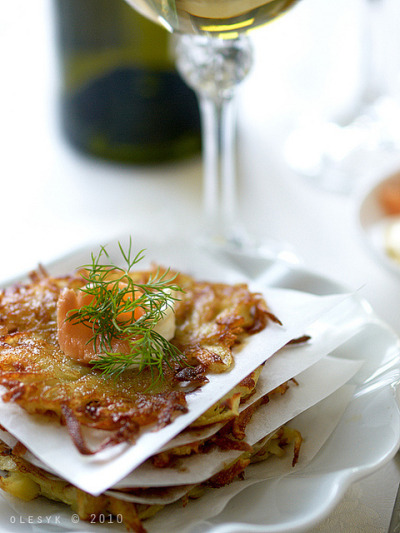 potato pancakes with salty salmon and mascarpone by o_lesyk on Flickr.