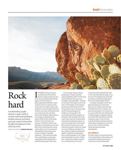 Red Rock is a favorite climbing spot in Nevada, USA. This is the first page of an article I wrote that was published recently in Australian Geographic Outdoor magazine.