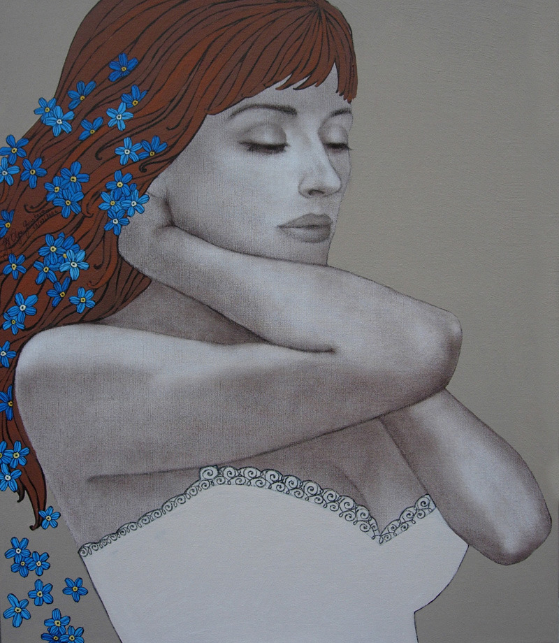 FORGET ME NOT50x60 cmacrylic on canvas, sepia pencil, acrylic pen2007sold