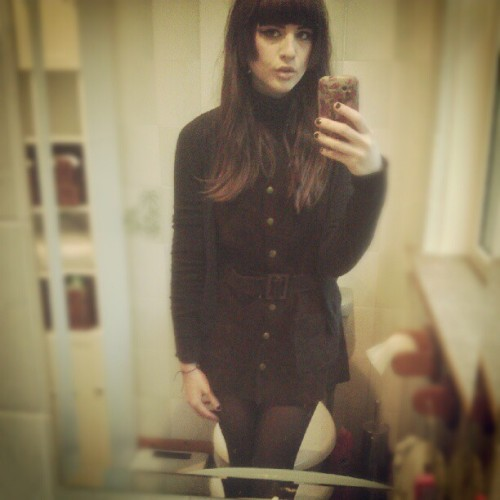ootd. #me #sleepy #college #suede #waistcoatdress #60s #70s #dolly #turtleneck #naturalhair #instagirl #ootd