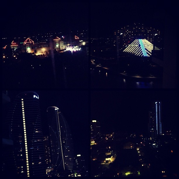 Top two my view from my room other side beach view #thisisamazing #goldcoast #broadbeach #livinglife #appartment #beach #nightlife #amazing #lights #pretty #nighttime #photo #photography