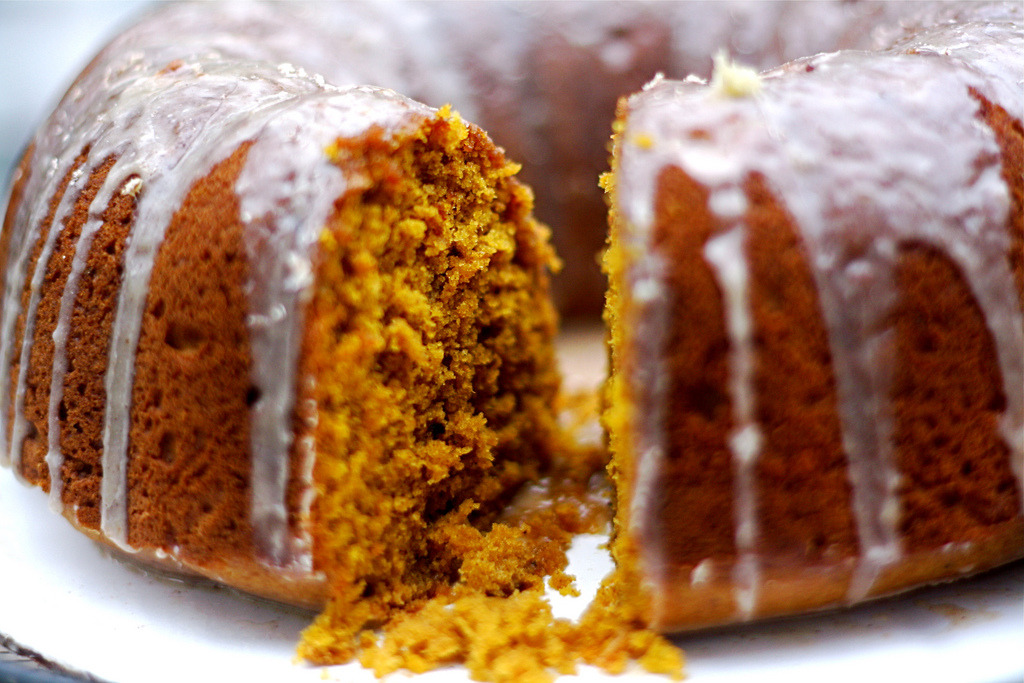 spiced pumpkin caked with cinnamon and ginger glaze