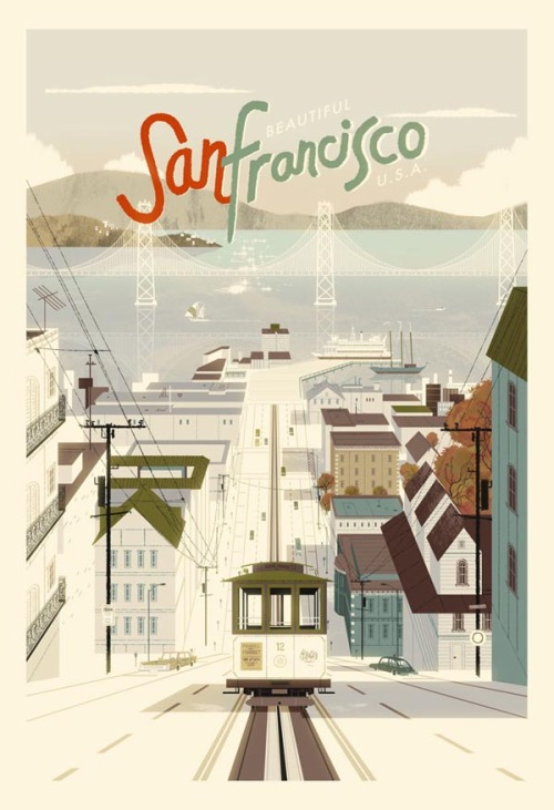 San Francisco A lovely vintage style poster illustration of San Francisco by illustrator and designer Kevin Dart. The art print is availabe here. via WE AND THE COLORFacebook // Twitter // Google+ // Pinterest