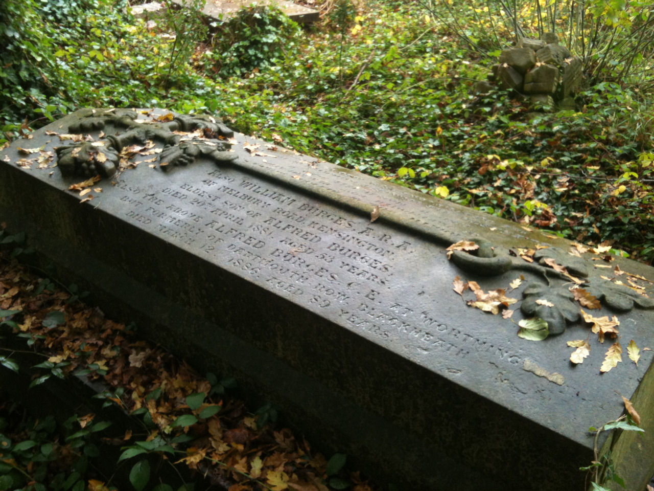 I found William Burges' tomb hidden in the undergrowth of  West Norwood Cemetary.
