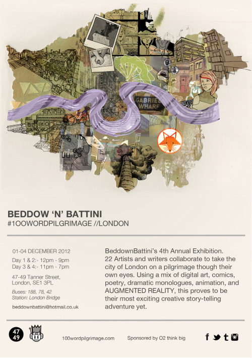 I have a piece up in this exhibition by Beddow 'n' Battini! Opening on December 1st! More info here.