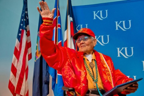 Navajo Code Talker Honored With Degree and Key to the City Campus-wide activities at the University of Kansas (KU) for Veterans Day included a touching ceremony November 12 honoring Chester Nez, the last surviving member of the original 29 Navajo code talkers from World War II.