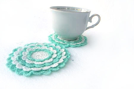 Crochet mini doily cute cup coaster home decoration mint by Sissta