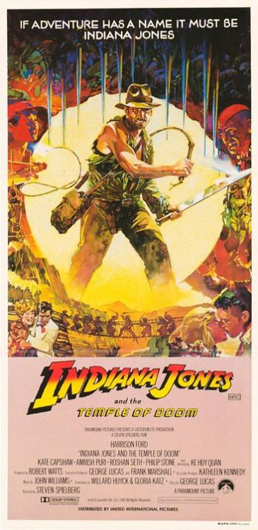 Action-packed poster for Indiana Jones and the Temple of Doom.