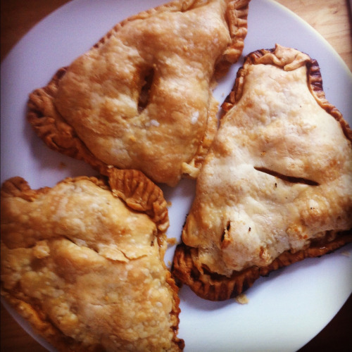 Apple turnovers…totally cheated and made with Pilsbury pie crust. And I didn't jam enough filling in there, nor did I make 'em Food-Networky enough.