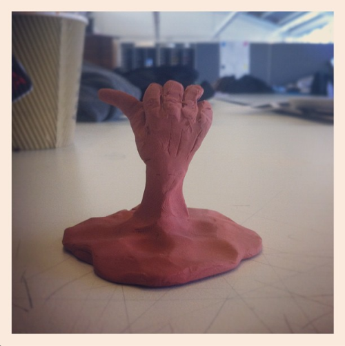 Recreating the end of Terminator 2 with plasticine in the studio.