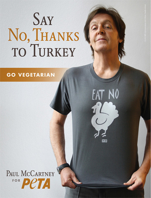 mothernaturenetwork:  Paul McCartney: 'Have a turkey-free Thanksgiving'Musician and animal activist appears in new PETA ad urging people to avoid eating meat during the U.S. holiday.