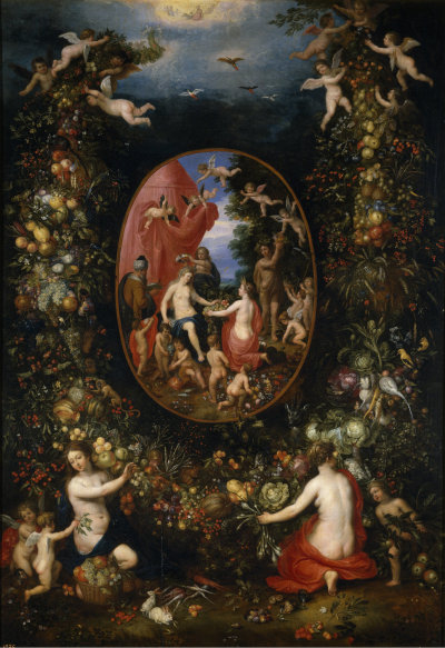 fleurdulys:  Cybele and the Seasons in a Garland of Fruit - Jan Brueghel the Elder 1618