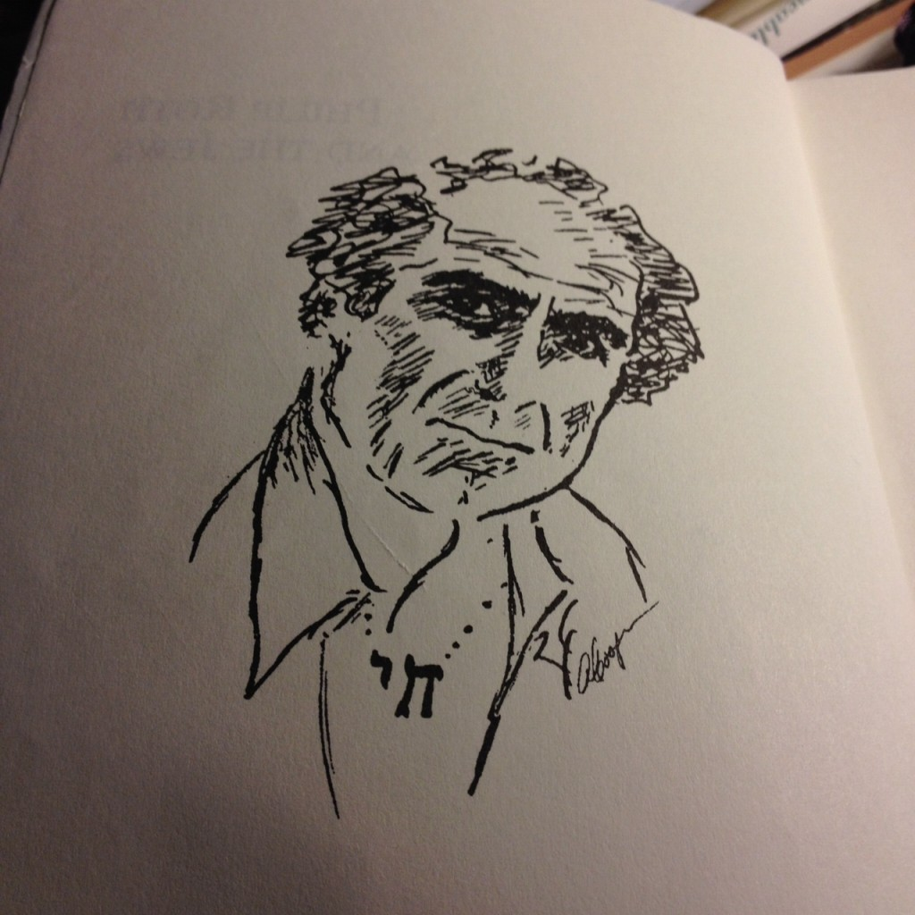 Philip Roth wearing a chai.