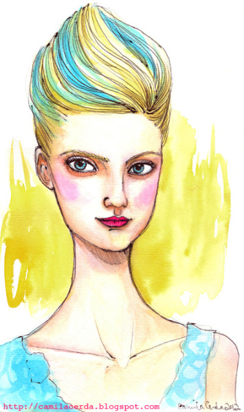 *Sweet Blossom* Portrait of Nastya Kusakina Oscar de La Renta SS13 Watercolor, ink pen Illustration by Camila Cerda