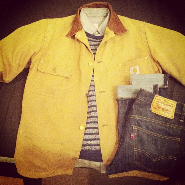 #WIWT #OOTD: Thrifties on the #Carhartt jacket. #JCrew striped sweater. #ClubMonaco oxford shirt. Selvedge #Levis. #menswear #streetwear #hashtageverything?