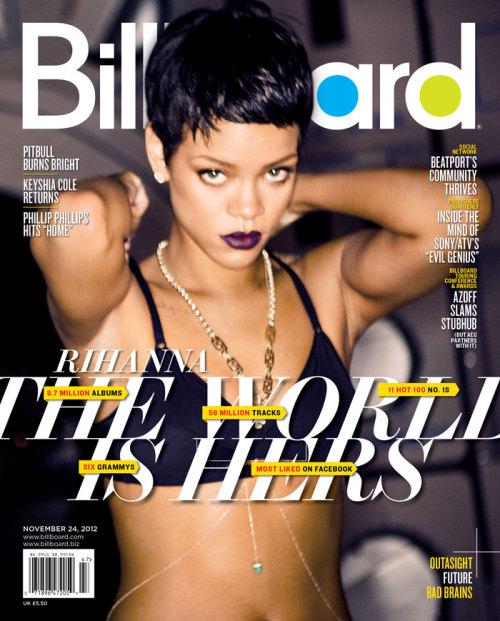 Rihanna covers the latest issue of Billboard magazine! Stay tuned for the cover story and click here to subscribe. More Rihanna news: Rihanna Gets Naked for the Cover of GQ Photos of Rih Rih Stripping Down Tour Diary: On the Road With Rihanna's 777 Tour Rihanna, Ke$ha, Kelly: Whose New Video Is Best? Vote here!
