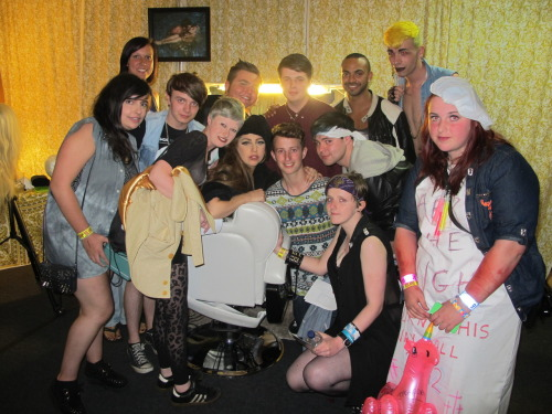 "I was lucky enough to be taken backstage by Gaga at the Manchester BTWB September 11th. I'm the girl down front with the purple bandana and not much else on! She had spotted my jacket after Bad Kids and it seems I made an impression as she kept asking me to go back! That was one of the proudest moments of my life knowing that she was wearing something that I had taken so much time to create.  After she told me I was going backstage I had a breakdown in the pit and she kept looking over and smiling at me, she even shouted at my friends during You and I! When I was in the holding area before we went backstage we watched TEOG and she pointed down from the tower and smiled again. Backstage smelled of weed and Starlight and Breedlove were having a joint behind Gaga. We walked past the famous bed and met little Fozzi! He was so adorable and tiny, he was also running around the room and running to Tara. We met Gaga while she was getting her hair done in the chair, she asked us all about her shaving the back off (she did it after we left!) although Freddi looked like he wasn't willing to do it!  She also told us about the idea of the head tattoo, her ideas were ""Famous"" or ""Mother Monster"" I'm so happy she decided to go for the cherub in the end! Haha.  We spoke about the album (it has a psychedelic/edm feel) and Taylor and she was just the sweetest most welcoming person I've ever met, she kept looking deep into my eyes and she has this stare that makes you feel so safe.  Before we left a monster asked if they could give a gift to Tara, Tara got all excited and Gaga turned away and muttered ""fucking whore"" Everyone fell about laughing, they have a great friendship!  It was the greatest night of my life and I still can't believe she has my creation. I've also attached a video another monster filmed, she spoke to me at 3:11  http://www.youtube.com/watch?v=zrcY8yHD-s4&list=FLQkDoGKUFqJ_7W6X767Dqmg&index=2&feature=plpp_video"