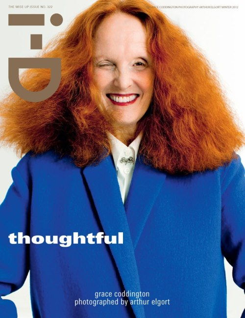 "i'm in a mental shock right now! i-D nailed it! Grace Coddington photographed by Arthur Elgort for i-D Winter 2012 ""The Wise Up Issue.""  Image fron i-D´s official FACEBOOK fan page. 2012. D.R."
