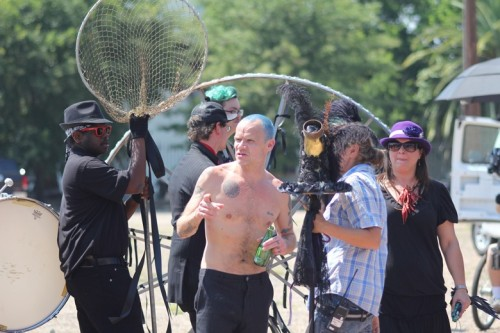 Flea with extras on the set of the Brendan's Death Song Video Shoot.