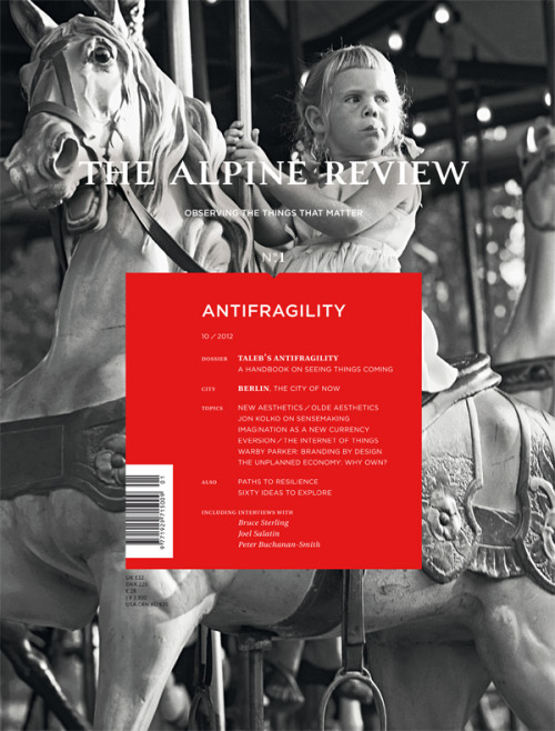 Review: The Alpine Review There's no way I'm ever going to read every article in The Alpine Review, in the same way there's no way I'll ever read every article in The New Yorker or Monocle. But that's not the point… the point is there's enough good content in The Alpine Review to make a purchase worthwhile even if you don't come close to reading the majority of it. So, it reads well. But it looks and feels great, too… more of a well designed textbook––or journal––than a magazine. It's one well-lush keeper. And I'm not talking about sticking it on some poorly constructed IKEA Billy Bookcase; at almost 300 pages, The Alpine Review is too damn heavy for that. It feels truly international. Published in Canada but printed in Barcelona… it's a bit Inventory, a bit The Paris Review, a bit The New Yorker, a bit 032c, a bit Monocle and, among others, even a bit WIRED. I… um, I… oh my, I think I love it. The reason I purchased The Alpine Review's launch issue (via the magCulture shop) is because of an article by Kati Krause. Kati has contributed to a few issues of Gym Class Magazine; she's a lovely and well-smart writer/editor/curator. Her article in The Alpine Review is a must-read for magazine fans, discussing how printed magazines are more and more often becoming the centre of wider-reaching brands/enterprises; citing heavy hitters Monocle and WIRED, and smaller, indie titles such as Little Joe and Sang Bleu as examples of magazines that have successfully established communities around their printed, inky origins. Oh, I should also point out Kati has contributed to Gym Class Magazine No.09. She spoke with Do You Read Me?! co-founder Jessica Reitz about her favourite magazines. Call me bias, but I think it's also a must-read for magazine fans and makers.  The Alpine Review is still available from the magCulture Shop. A full list of stockists can be found on The Alpine Review website. The Gym Class Magazine No.09 iPad app is available to download from iTunes.