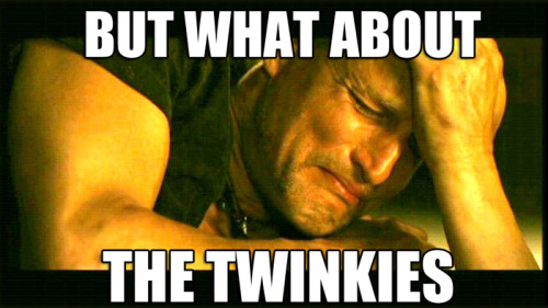 "collegehumor:  Twinkies face extinction as Hostess announces they're filing for bankruptcy. Sources report Woody Harrelson ""inconsolable."""