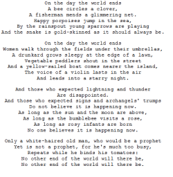 souffrante:  Czeslaw Milosz - A song on the end of the world