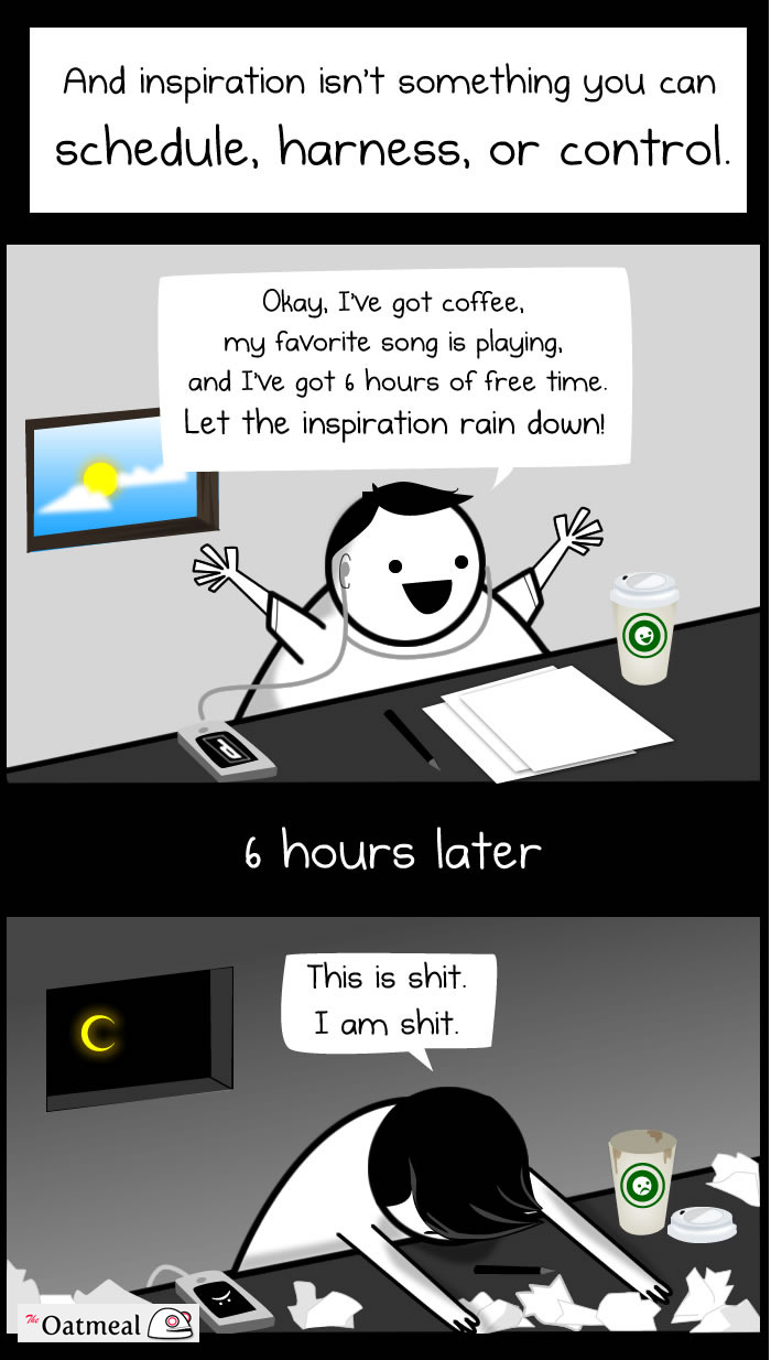 lunavin:  Being a Writer comic from The Oatmeal.  Check out the whole thing, it's pretty accurate.