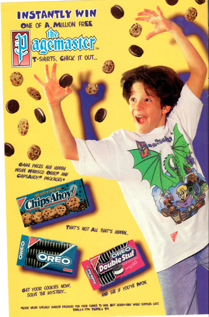 f-ckyeah1990s: in the 90s you could win a pagemaster t-shirt for eating cookies