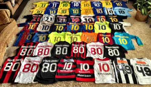 Sick collection of @Ronaldinho football shirts courtesy of coloursoffootball: #brazil   Collection of Football shirts   Get your Ronaldinho Brazil, Nike, 2013 football shirt here.