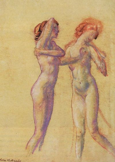 Two Standing Female Nudes, by Arthur Bowen Davies