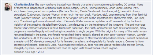 "geekquality:  mdsh:  brasspistol:   A fan's response to DC's post: ""Reasons we're addicted to our super-heroines.""  The whole discussion going on, on facebook is quality, never seen so many angry, articulate, comic book fans in my life.  wow there is a lot of ass-handing going on in that thread. click thru image.  So much quality in these comments.   Fucking word."