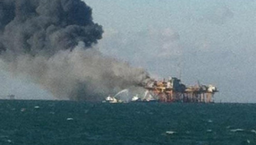 mothernaturenetwork:  BREAKING NEWS: Oil rig explosion and fire off Louisiana coast, 2 missingThe U.S. Coast Guard confirmed that a Black Elk Energy Co. oil and natural gas platform had some sort of explosion occur in the gulf, sending plumes of black smoke into the sky over the water.  The coast guard is still searching for 2 missing people in the aftermath of the Black Elk platform explosion, and 11 have been taken to the hospital with injuries, some in critical condition.