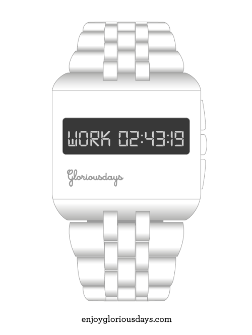 The Work & Play watch. If you have a job with fixed routines this watch might suit you. If you have a tendency to bring work home you need this watch. It counts down how much time you've got left to work, and then swaps to Play-mode which counts down the time you've got to play before Work-mode kicks in again.
