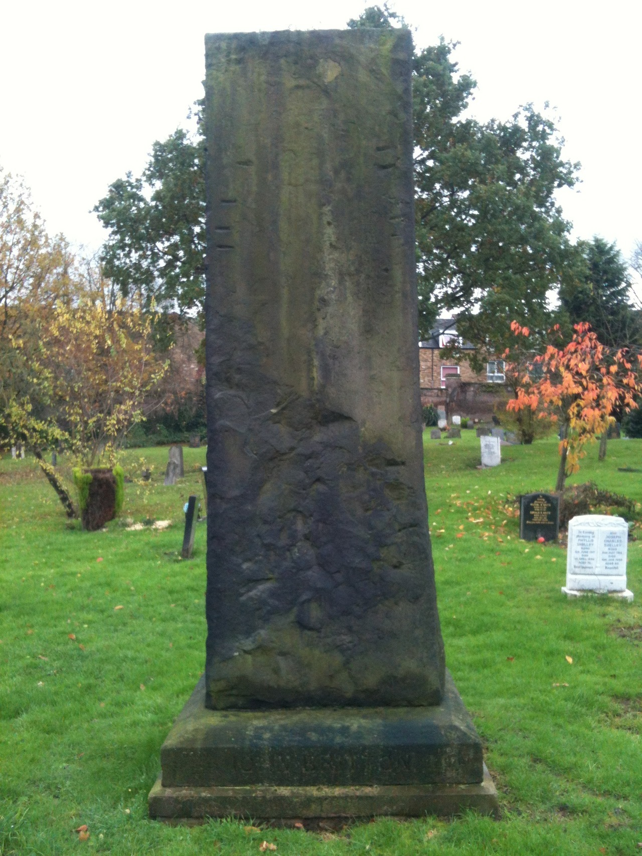 John Britton's tombstone in West Norwood Cemetary. It's modeled on the standing stones of Stonehenge. The names of two of his series of books are engraved on the sides of the base - 'Architectural Antiquities' (9 volumes) and 'Cathedral Antiquities' (14 volumes).